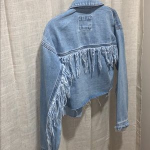 Cropped denim jacket with unique detail